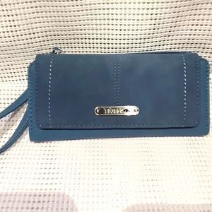 Roots blue Suede snap flap wallet